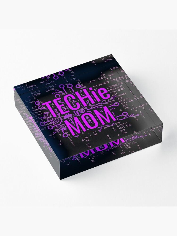 Alternate view of TECHie MOM Cyber Purple circuit Acrylic Block