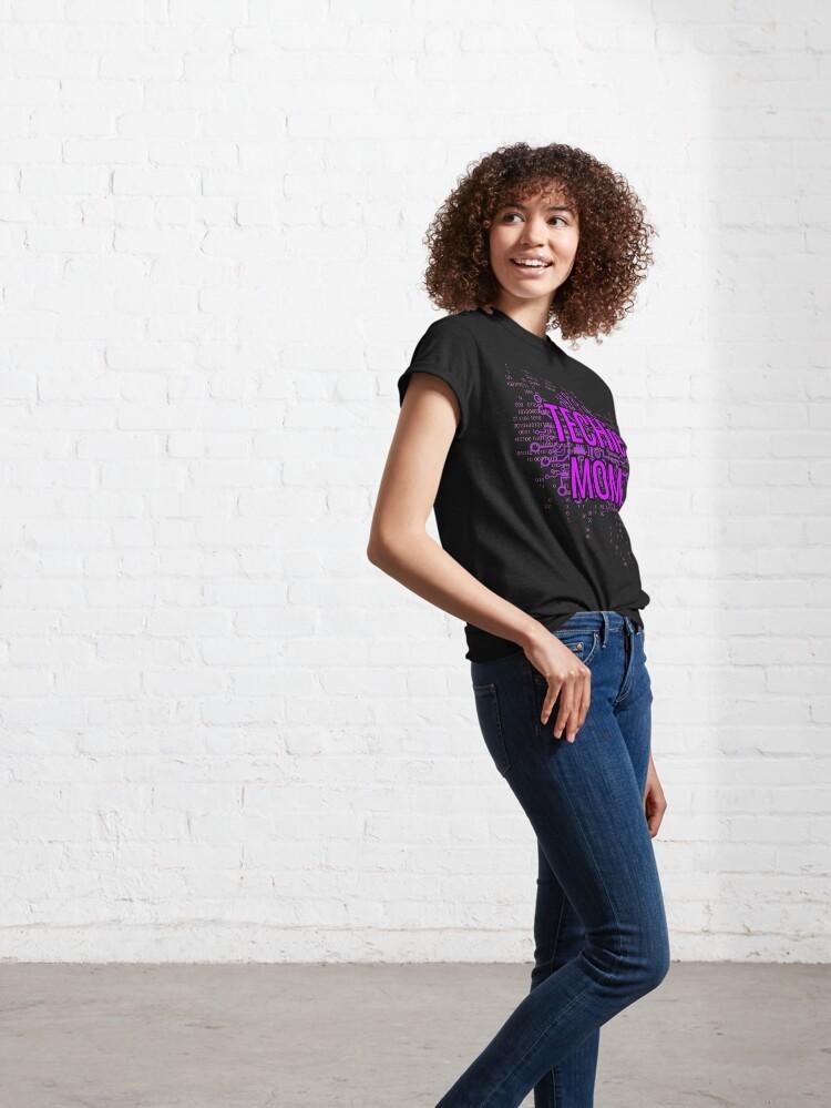 Alternate view of TECHie MOM Cyber Purple circuit Classic T-Shirt