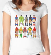 Superhero Butts Pattern on Black Women's Fitted Scoop T-Shirt