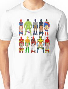Superhero Butts Pattern on Black Unisex T-Shirt