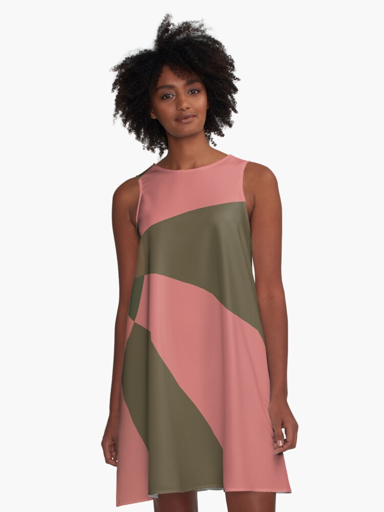 Salmon and Sand A-Line Dress Front