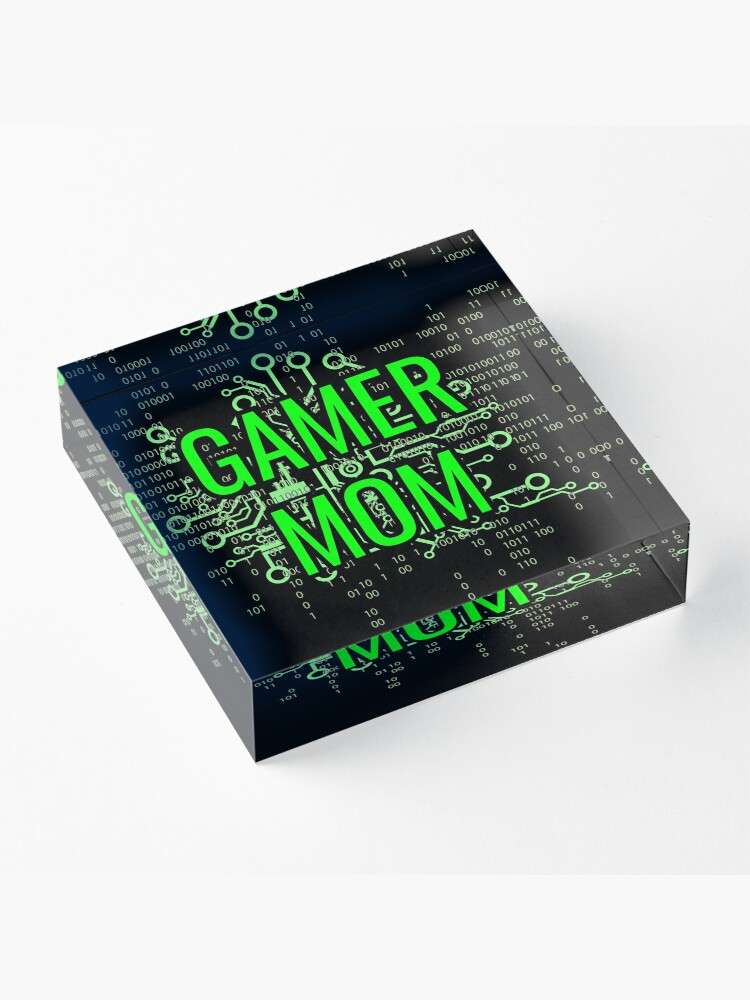 Alternate view of GAMER MOM Digital Green circuit Acrylic Block