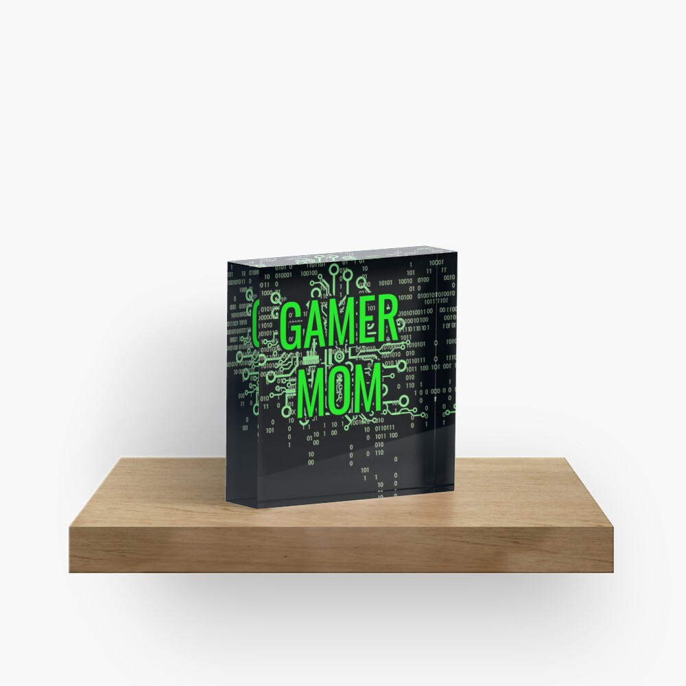 GAMER MOM Digital Green circuit Acrylic Block