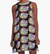 UF Colorful Tie Dye Gator  A-Line Dress