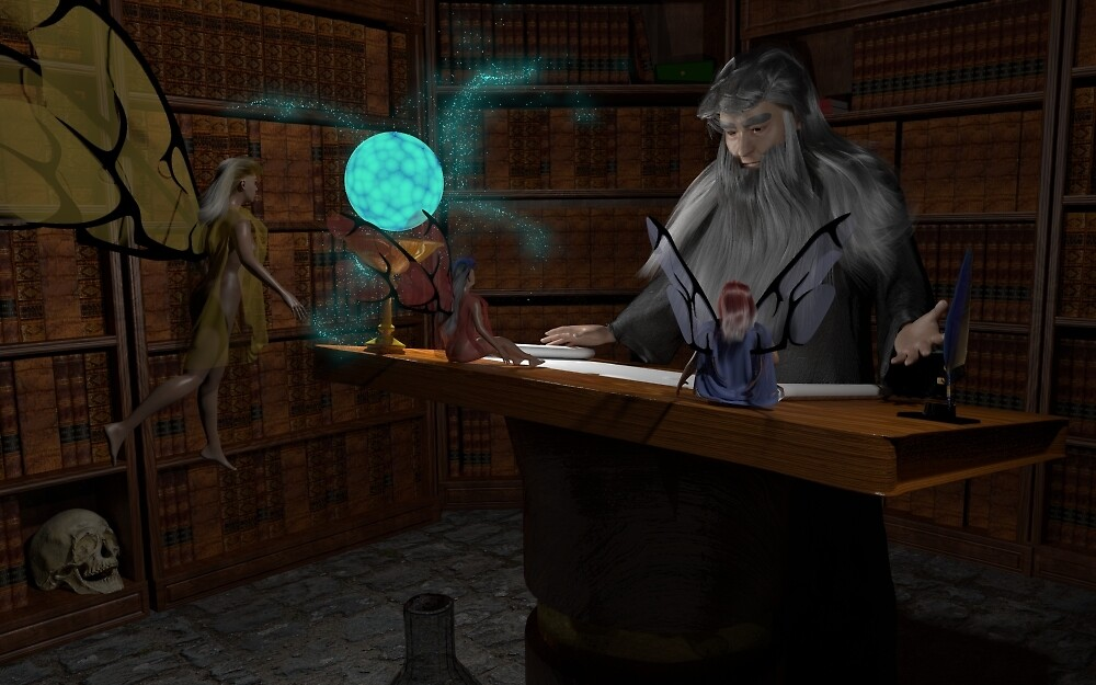 Wizard's Study Lesson Begins by BrainwaveArt