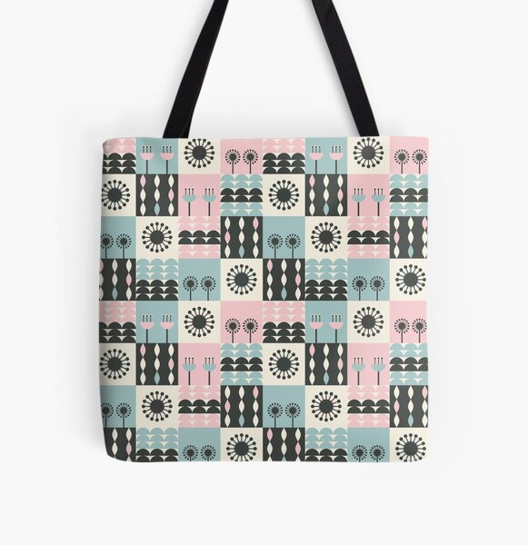 Abstract Floral Grid Pattern l Scandi Style All Over Print Tote Bag