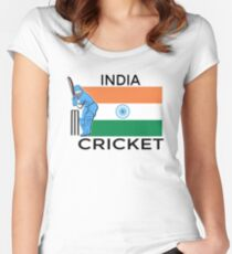 India Cricket Women's Fitted Scoop T-Shirt