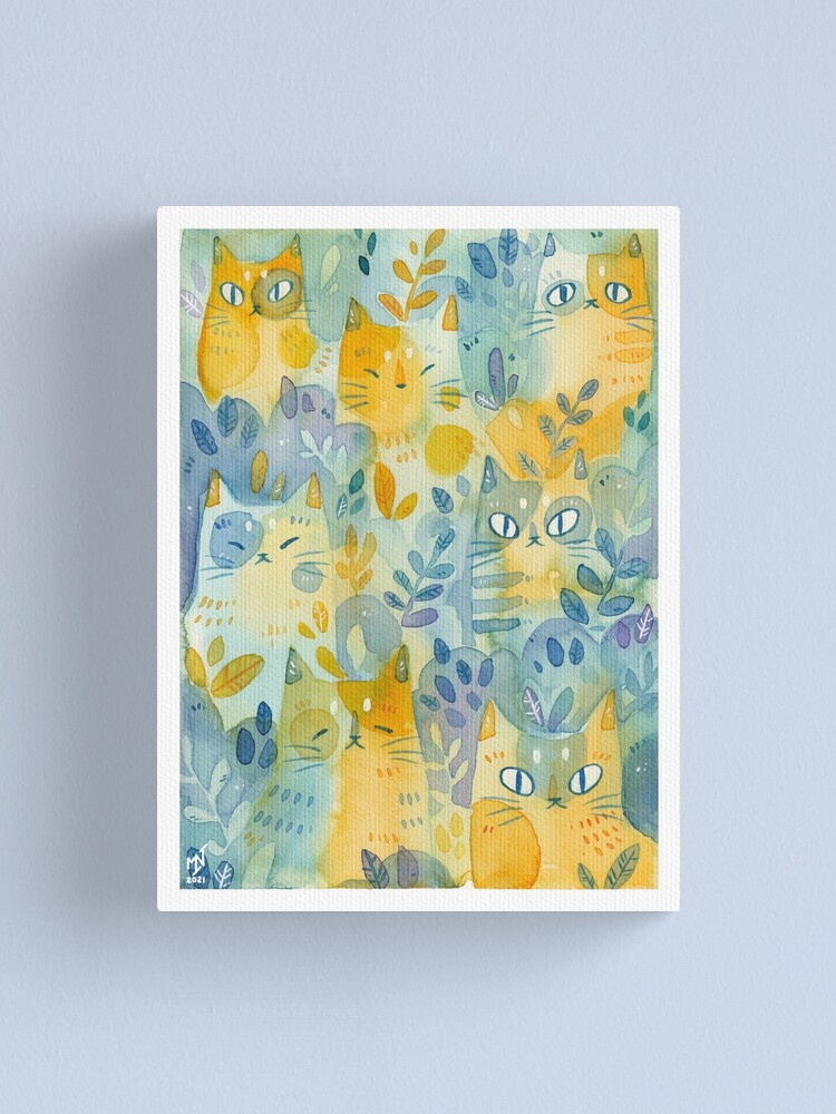 Alternate view of Kitties In the Moss Canvas Print