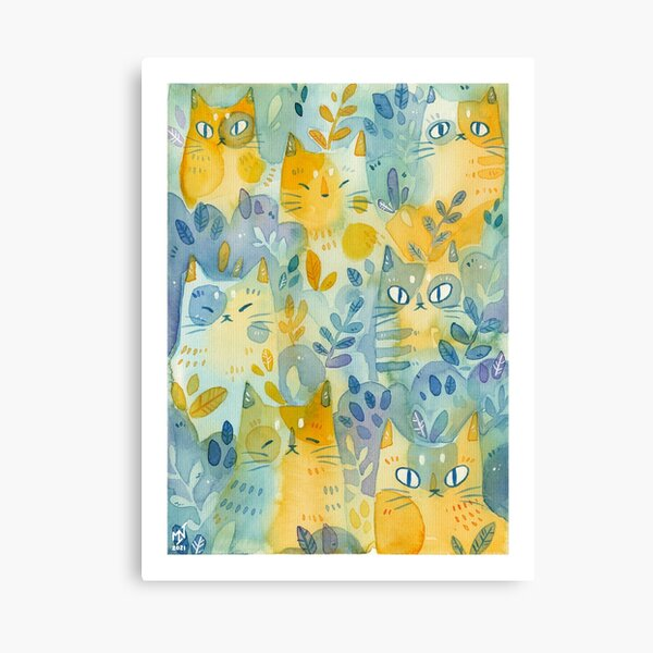 Kitties In the Moss Canvas Print