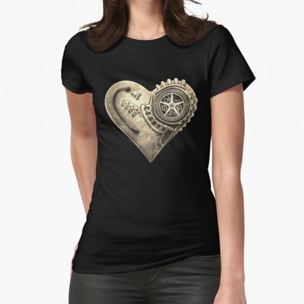 Steampunk Vintage Clockwork Heart Steampunk T-Shirts Fitted T-Shirt