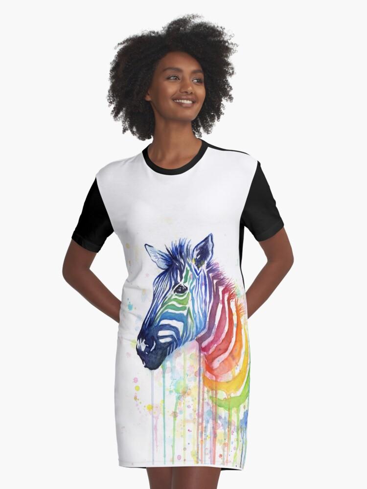 Art Zebra Graphic T-Shirt Dress Front