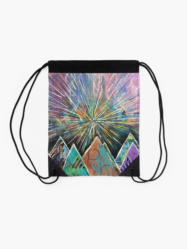 Alternate view of Morning in the Mountains Drawstring Bag
