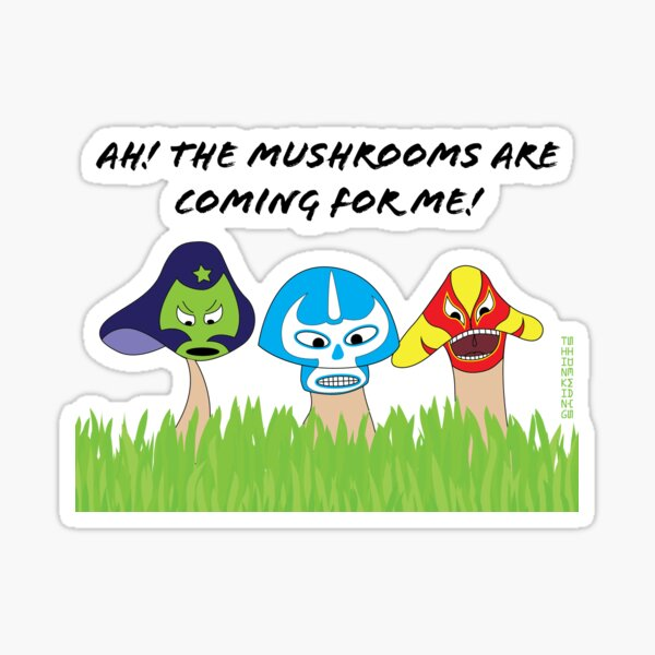 Luchador mushrooms! Sticker