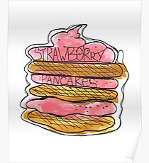 Watercolor acrylic drawing of pancakes with strawberry cream Poster
