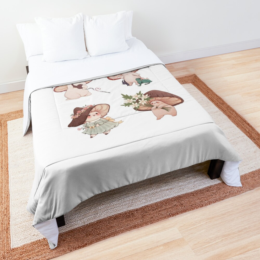 Four Vibrant Mushrooms Friends  Comforter