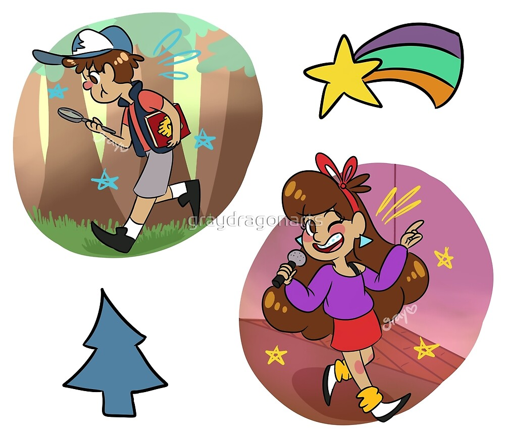 Mystery Twins Sticker Set by graydragonarts