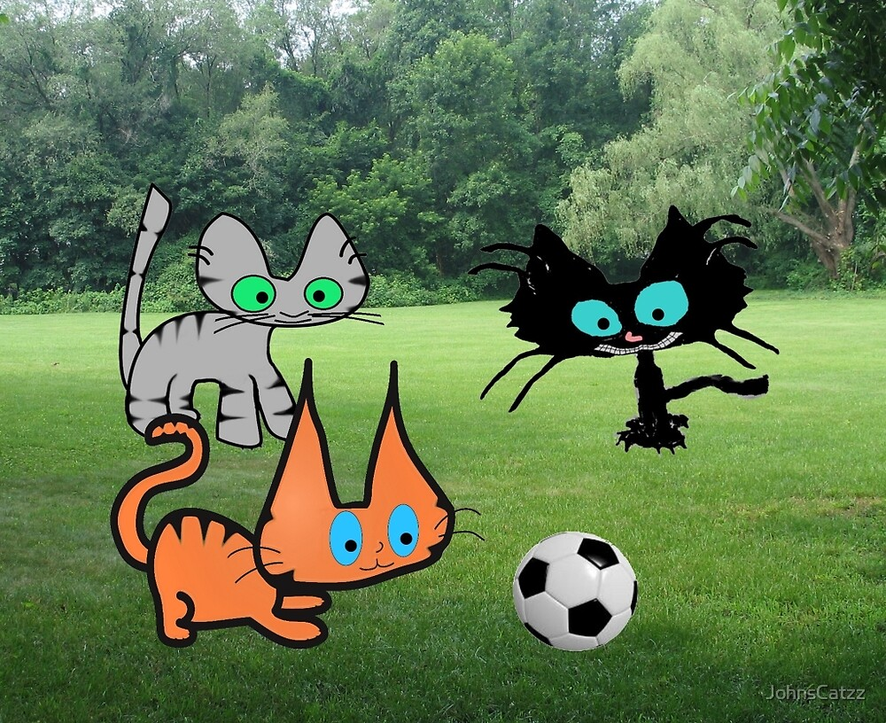 Cats Play Soccer At The Park by JohnsCatzz