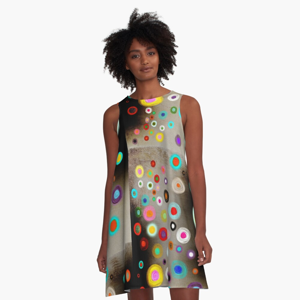 Poppies colorful Snow Landscape A-Line Dress