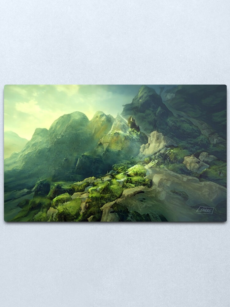 Alternate view of Rocky Mossland Landscape Metal Print