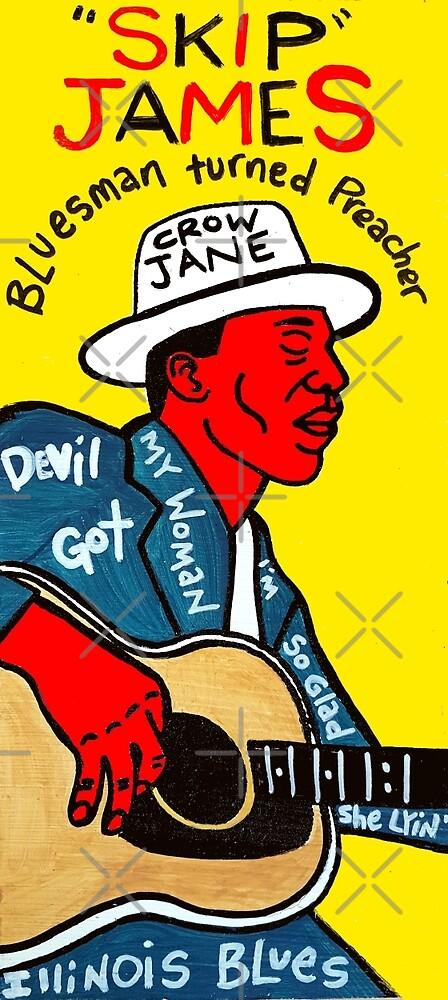 Skip James Blues Folk Art by krusefolkart
