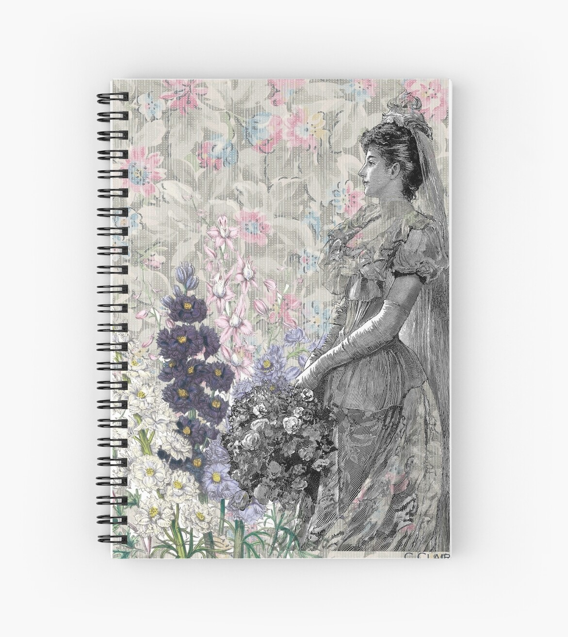 Victorian Floral Woman Lavender Pink Flowers by designsbycclair