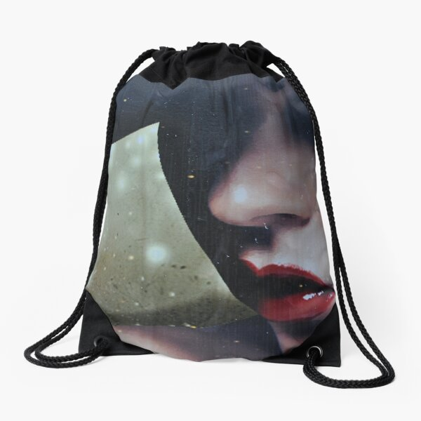 a moody lady  Drawstring Bag