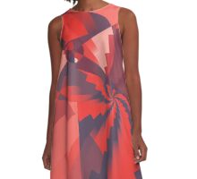 Red Pinwheel abstract A-Line Dress