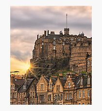 Edinburgh Castle Sunset, Candlemaker Row Photographic Print