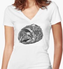 Diogenes surreal pen ink black and white drawing Women's Fitted V-Neck T-Shirt
