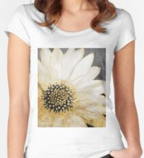 Gold and White Daisy Women's Fitted Scoop T-Shirt