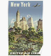 Weinlese-Reise-Plakat New York United Air Lines Poster