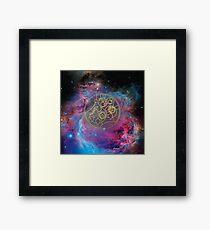 'Gallifrey Falls No More.' in Gallifreyan - Gold (bright nebula background) Framed Print