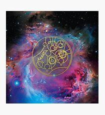 'Gallifrey Falls No More.' in Gallifreyan - Gold (bright nebula background) Photographic Print