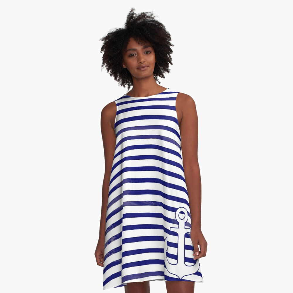 The blue anchor A-Line Dress
