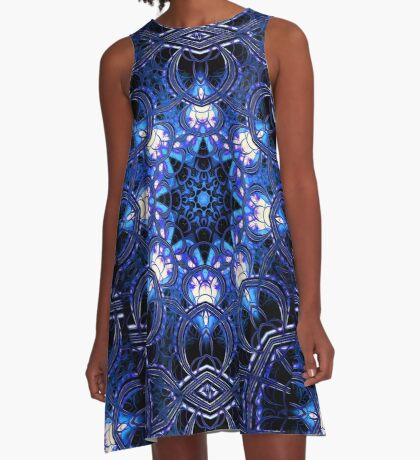 """On the Edge of Bliss"" (Blue Tones) - Geometric Abstract Mandala  A-Line Dress"