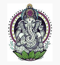 Ganesh and Lotus Flower Photographic Print