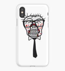 kopf gesicht nerd geek hornbrille pickel spange freak schlau glücklicher untoter monster halloween horror comic cartoon design zombie  iPhone Case/Skin