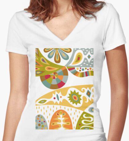 Bohemian white Women's Fitted V-Neck T-Shirt
