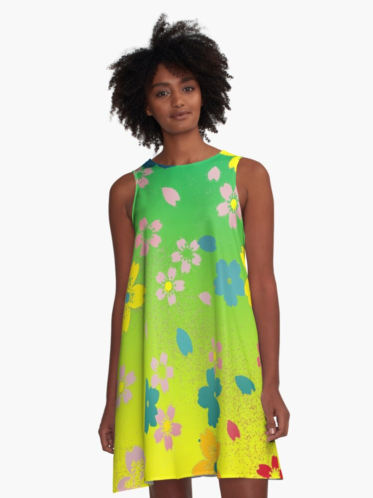 Bright Floral A-Line Dress Front