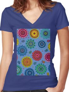 Flowers of Desire blue Women's Fitted V-Neck T-Shirt