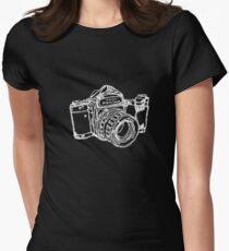 Pentax 6X7 Medium Format Camera WHITE INK Women's Fitted T-Shirt