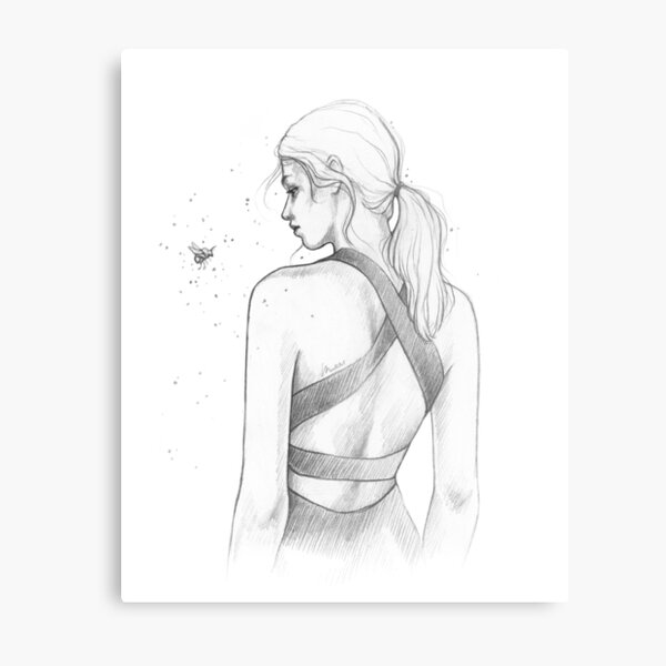 Girl and her Bumblebee - Bee, Bug, Woman, Friends -  Monochrome Line Art Pencil Illustration by MadliArt Metal Print