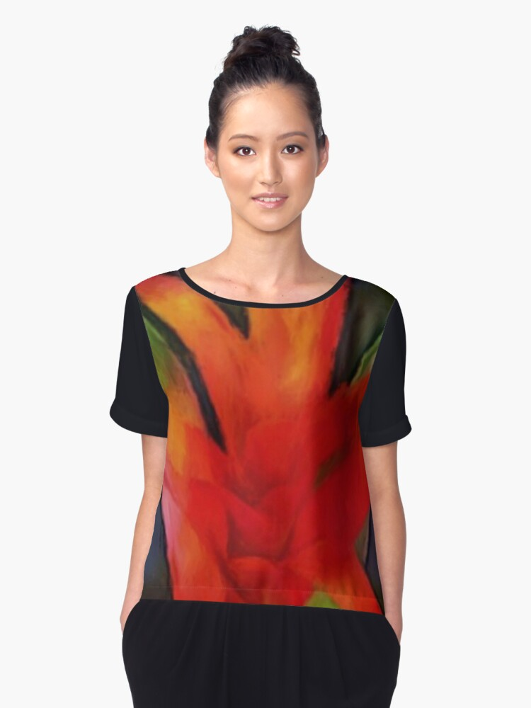 thinking of bromeliad Women's Chiffon Top Front