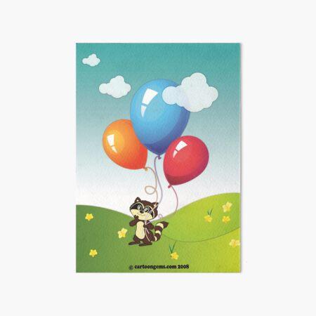 Raccoon Balloons Art Board Print
