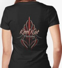 Kool Kat Pinstriping (Red) Women's Fitted V-Neck T-Shirt