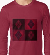 Patchwork Red & Black Leather Effect Motley with Diamond Patches 3 Long Sleeve T-Shirt