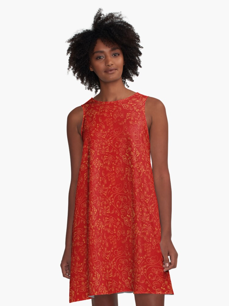 Chinese Red A-Line Dress Front