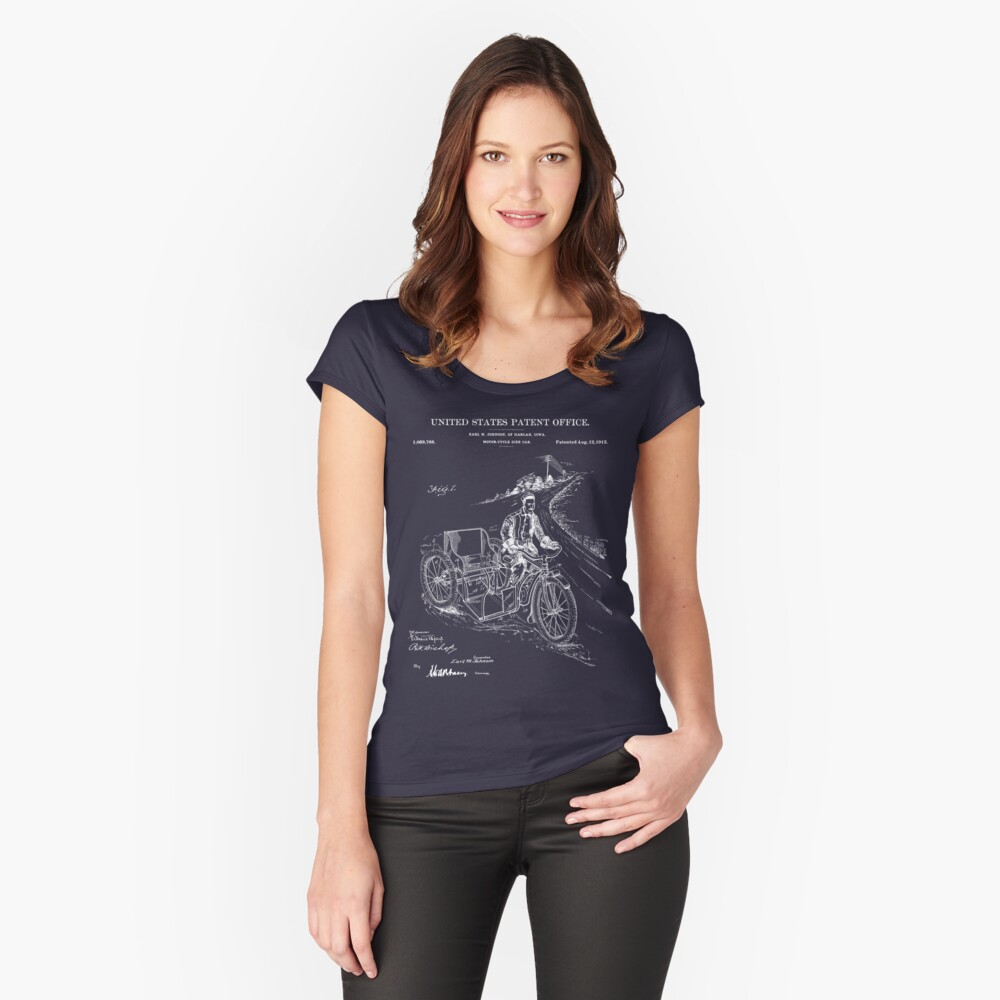 Motorcycle Sidecar Patent - Blueprint Women's Fitted Scoop T-Shirt Front