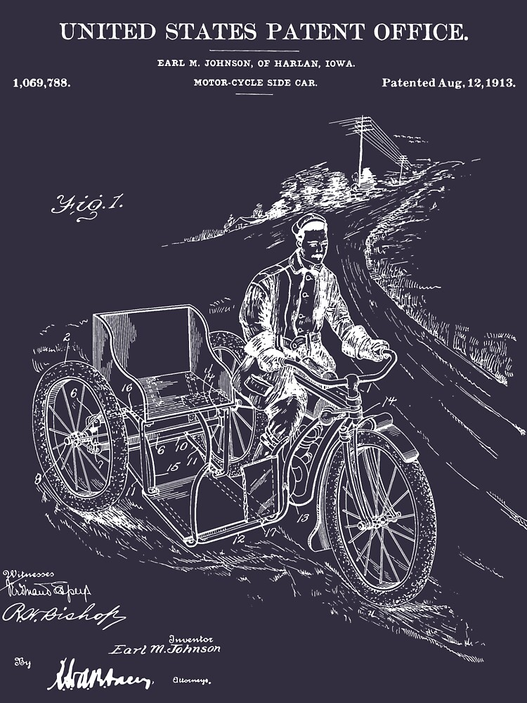 Motorcycle Sidecar Patent - Blueprint by FinlayMcNevin