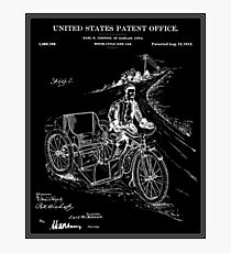 Motorcycle Sidecar Patent - Black Photographic Print